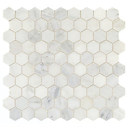 Daltile Addison Place 11 3/4-inch x 12 7/8-inch x 8 mm Hexagon Stone Blend Mosaic Tile in White Lux