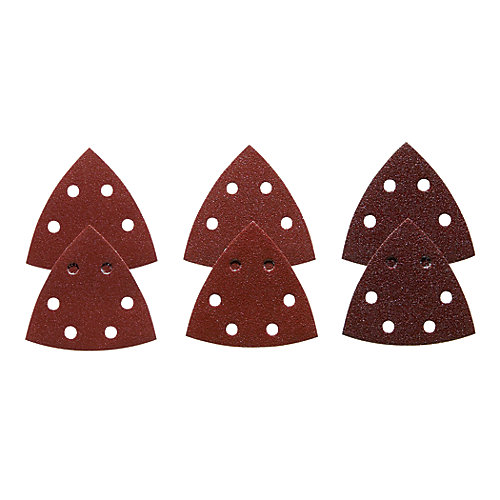 3.5-inch 6-Piece Assorted Grits Red Detail Sander Abrasive Triangles for Wood