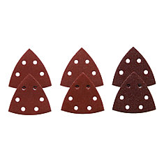 3-1/2 Inch Assorted Grits 6 pc. Red Detail Sander Abrasive Triangles for Wood