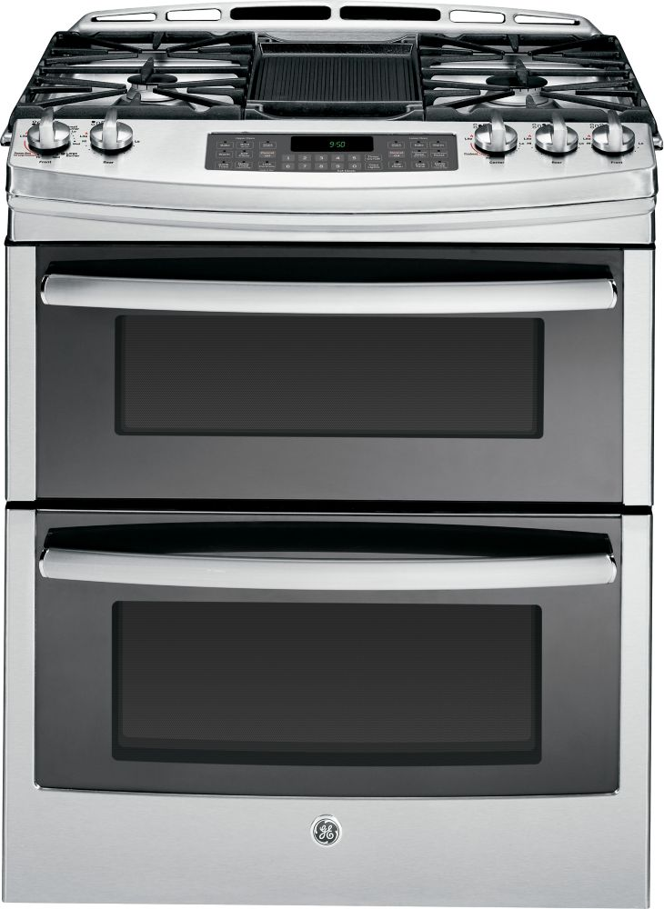 6.7 cu. ft. 30-inch Slide-In Self-Cleaning Gas Convection Double Oven Range in Stainless Steel
