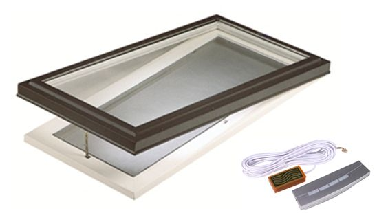 2 ft. x 4 ft. Deluxe Curb Mount Venting Electric Clear Glass Skylight