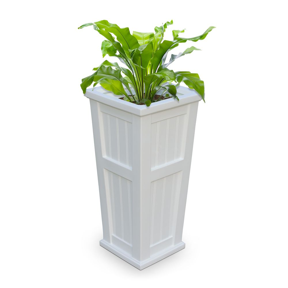 Cape Cod Tall Planter - White