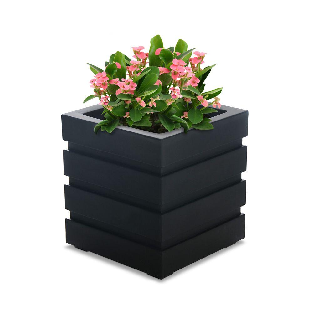 Mayne Freeport 18-inch Square Black Plastic Planter