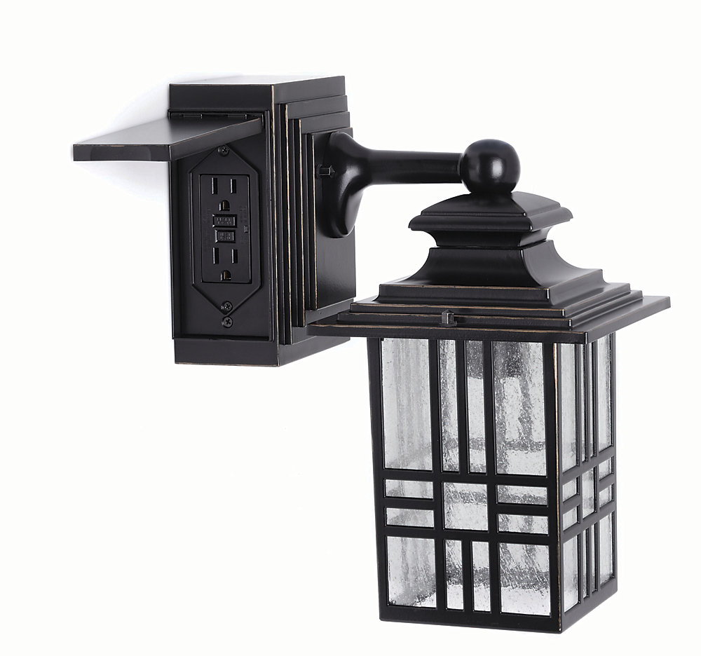 Mission style 60w 1 light black and bronze outdoor wall lantern with built in electrical outlet