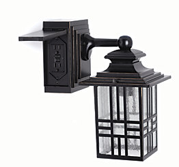 Hampton Bay Mission Style Outdoor Wall Lantern With Built In Electrical Outlet Black Bronze Highlight The Home Depot Canada