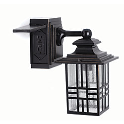 Hampton Bay Mission Style 60W 1-Light Black and Bronze Outdoor Wall Lantern with Built-In Electrical Outlet