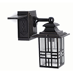 Mission Style Outdoor Wall Lantern with Built-In Electrical Outlet in Black with Bronze Highlight
