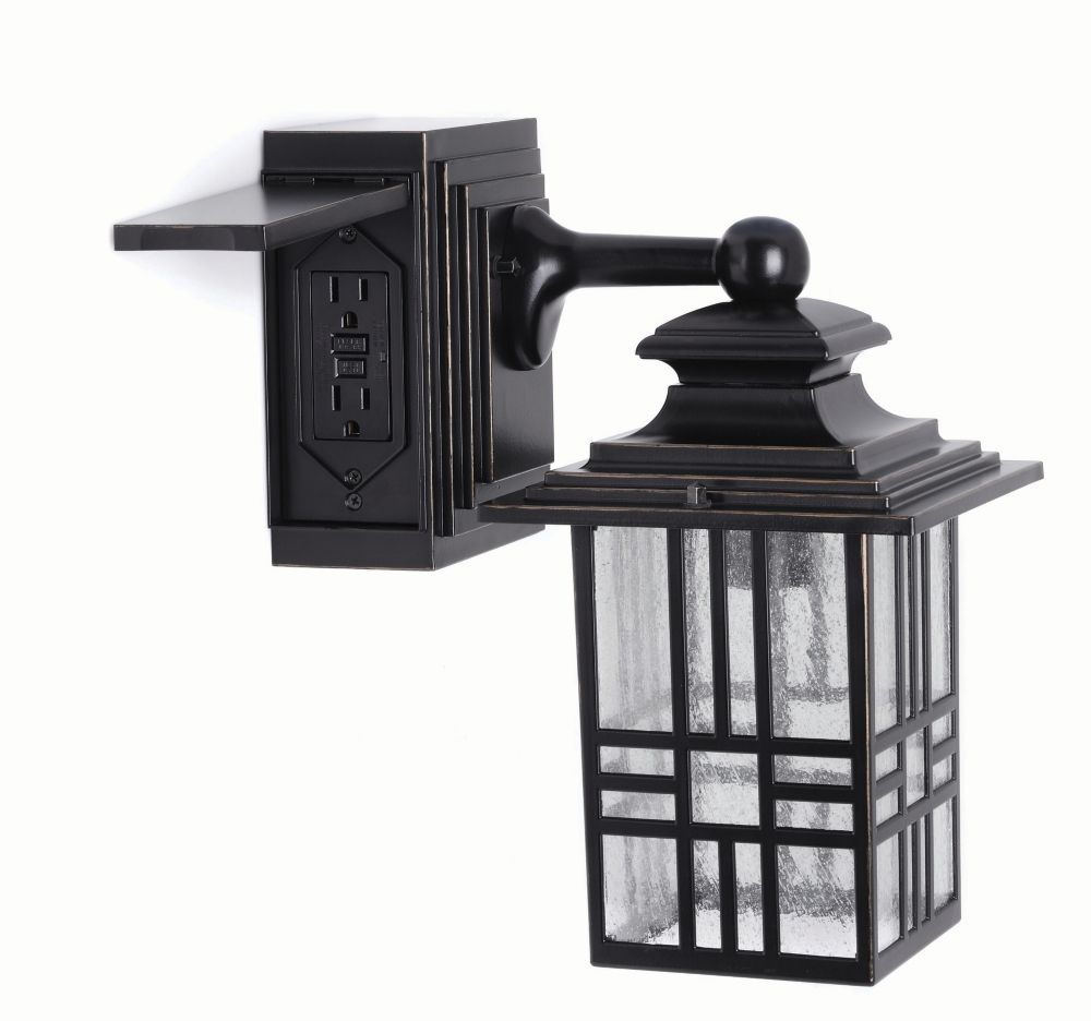 Hampton Bay Mission Style Exterior Wall Lantern with Built-in Electrical Outlet (GFCI)