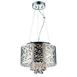 Century Helix Steel Cable Chrome Plated Pendant With Crystals- 6 Lights