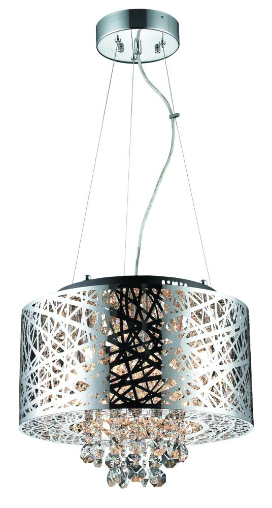 Helix Steel Cable Chrome Plated Pendant With Crystals- 6 Lights
