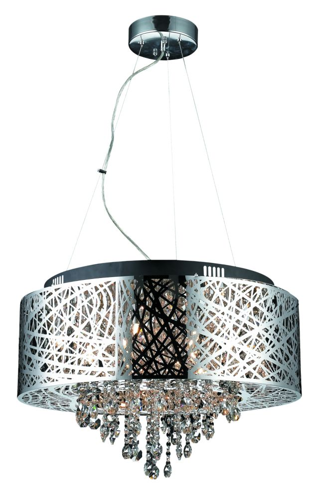 Helix Steel Cable Chrome Plated Pendant With Crystals- 16 Lights