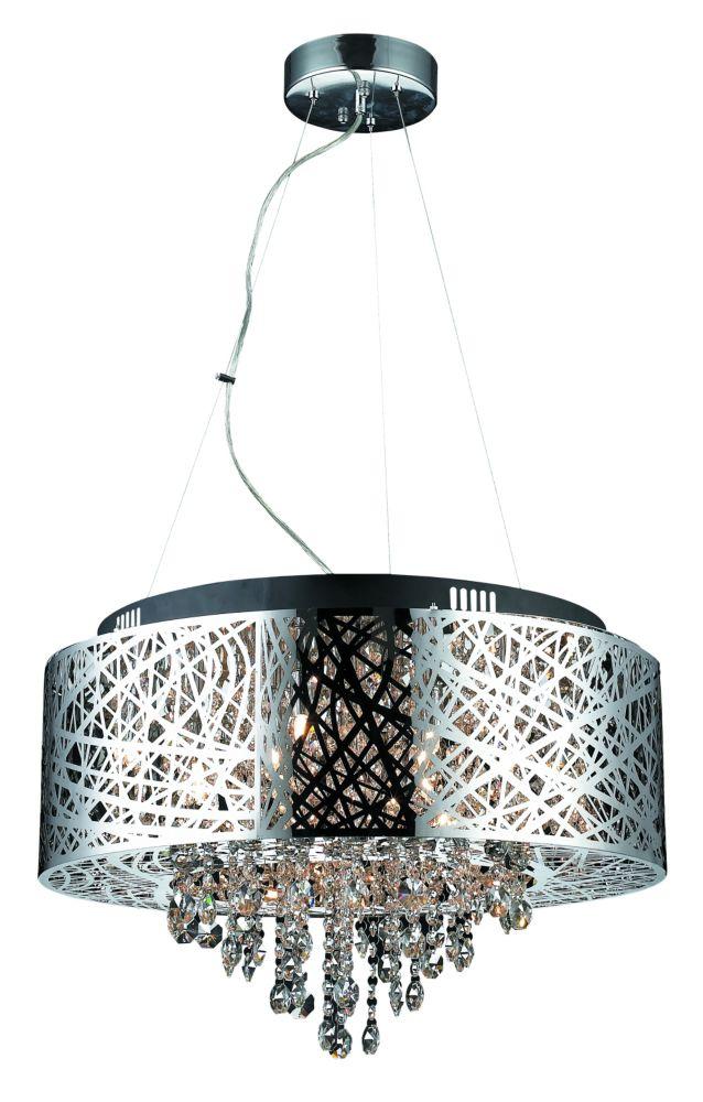 Helix,Lampe Suspendue En Métal Fini Chrome Ajouré, Avec Pendant De Cristal-16 Lumières