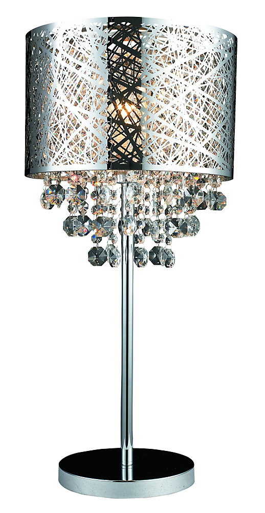 Helix Chrome Table Lamp With Crystals