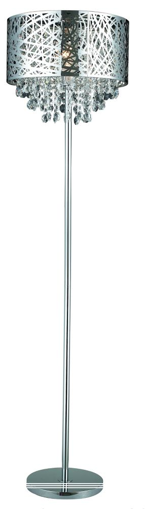 Helix 1 Light Chrome Floor Lamp With Crystals