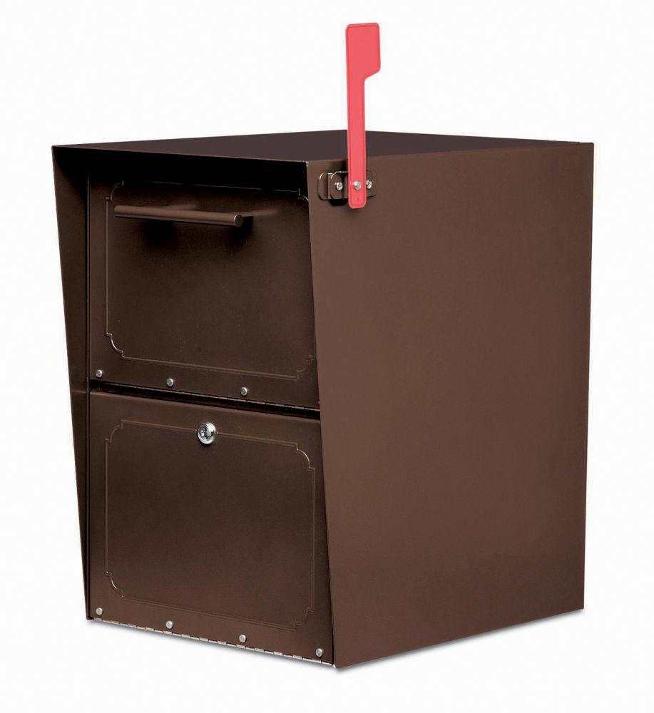 Boîte aux lettres verrouillable Oasis Jr. en bronze huilé, à montage sur piédestal