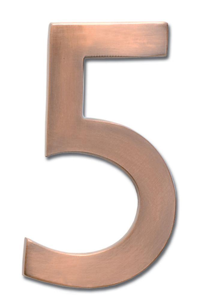 Chiffre flottant de numéro de maison, 5 pouces, en laiton fondu massif à fini cuivre patiné, «5...