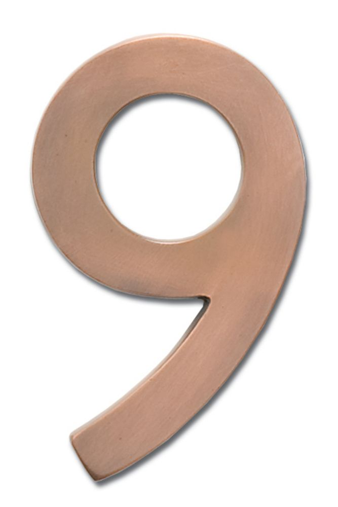 "Solid Cast Brass 5 inch Floating House Number Antique Copper ""9"""