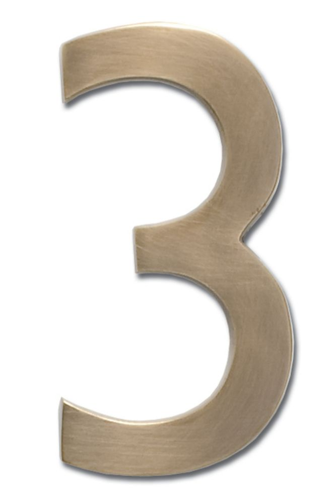 """Solid Cast Brass 5 inch Floating House Number Antique Brass """"3"""""""