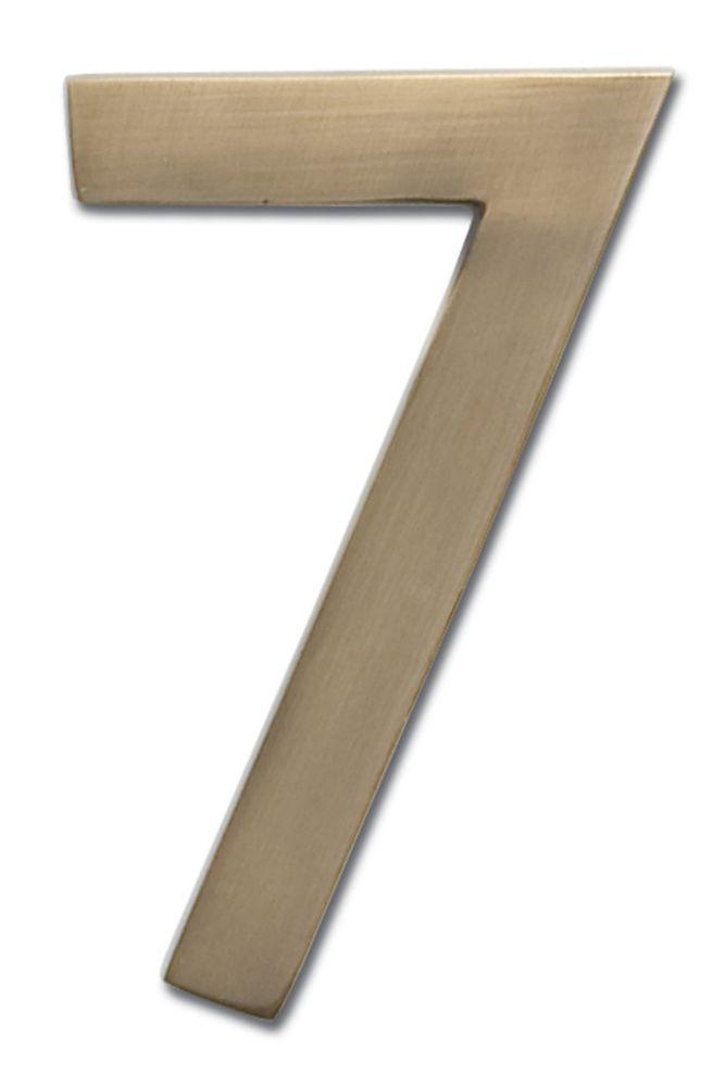 Chiffre flottant de numéro de maison, 5 pouces, en laiton fondu massif à fini laiton patiné, «7...