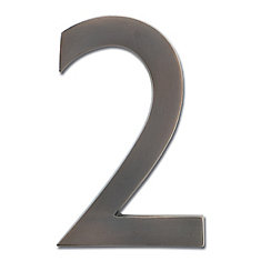 Solid Cast Brass 5 inch Floating House Number Dark Aged Copper