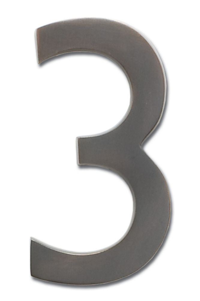 """Solid Cast Brass 5 inch Floating House Number Dark Aged Copper """"3"""""""