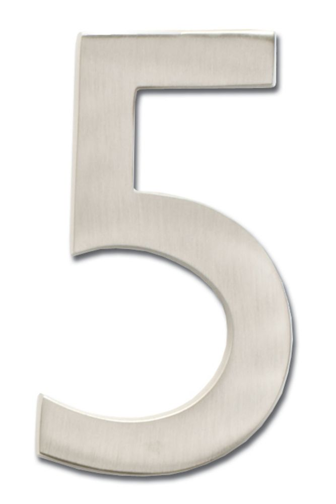 Chiffre de numéro de maison flottant, 5 pouces, en laiton fondu massif à fini nickel satin, «5»