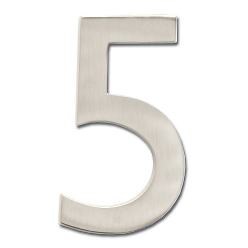 """Solid Cast Brass 5 inch Floating House Number Satin Nickel """"5"""""""
