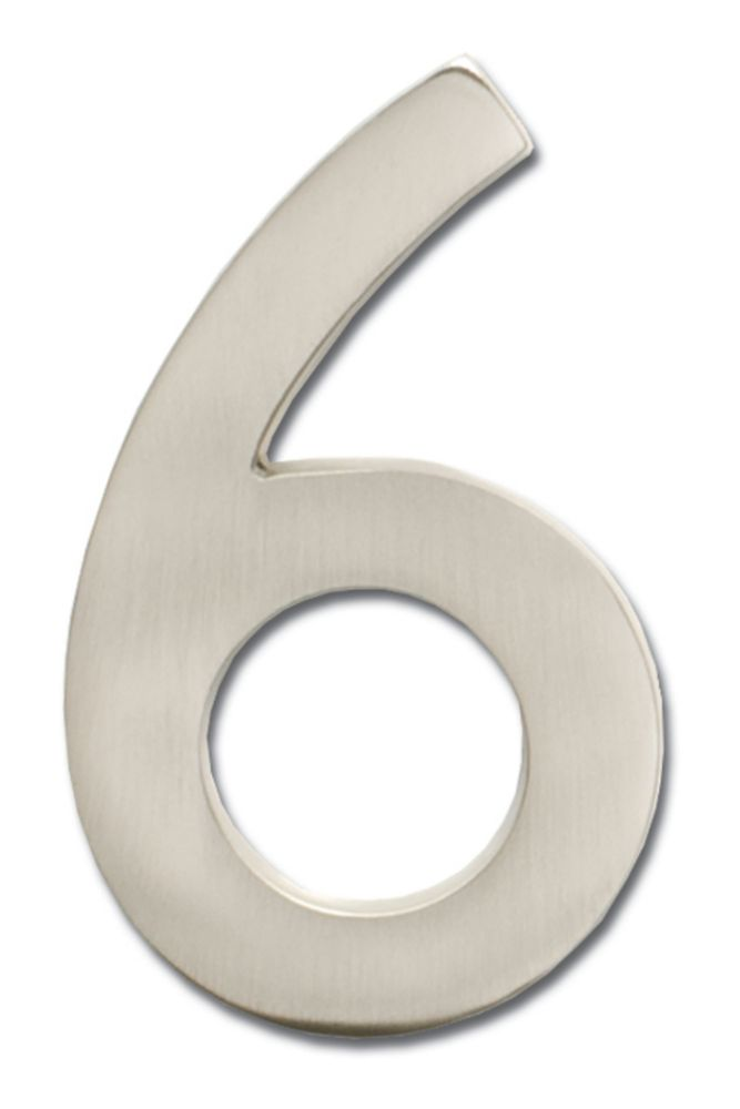 """Solid Cast Brass 5 inch Floating House Number Satin Nickel """"6"""""""