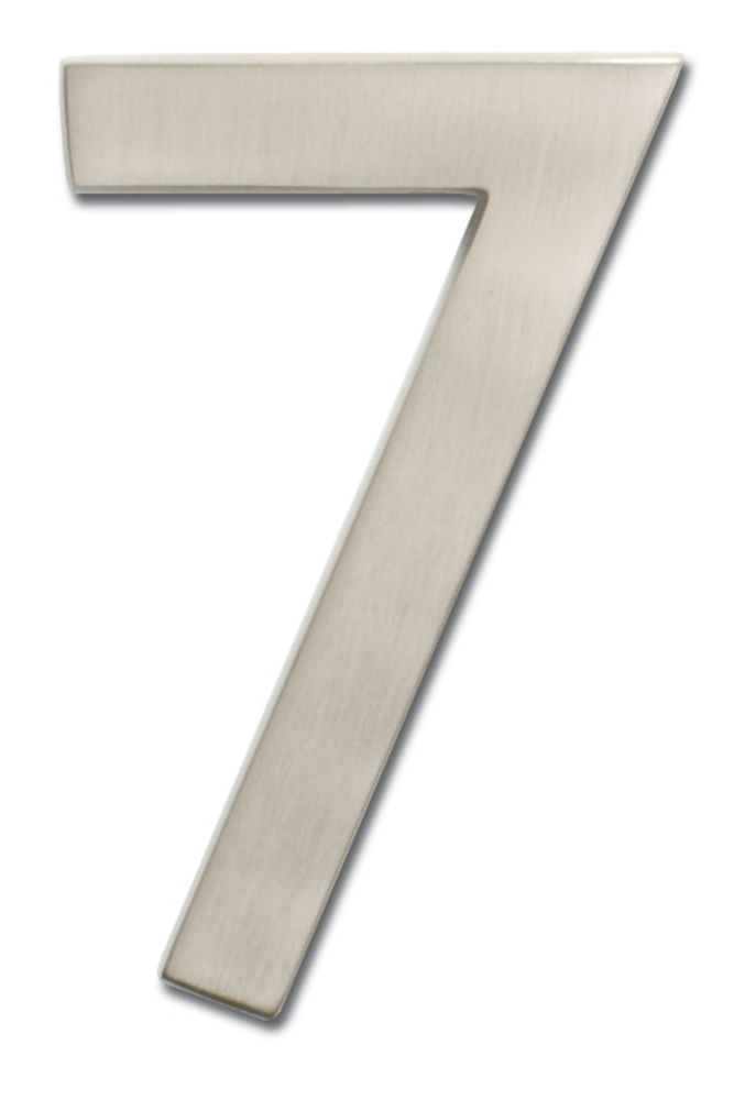 "Solid Cast Brass 5 inch Floating House Number Satin Nickel ""7"""