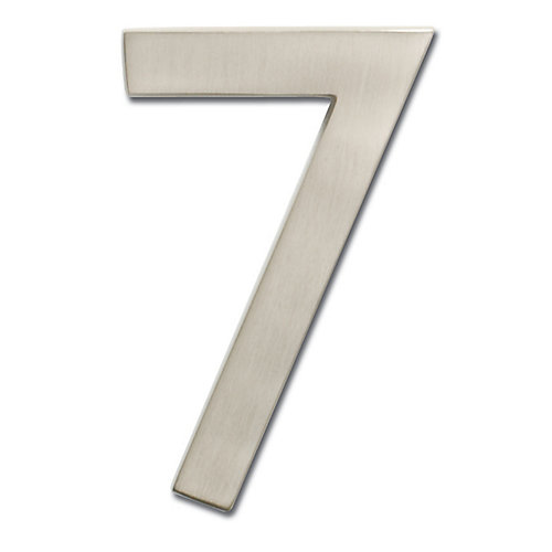 """Solid Cast Brass 5 inch Floating House Number Satin Nickel """"7"""""""