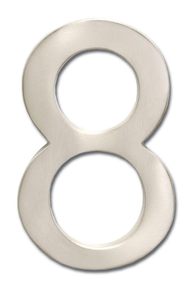 Chiffre de numéro de maison flottant, 5 pouces, en laiton fondu massif à fini nickel satin, «8»