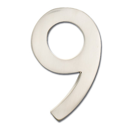 """Solid Cast Brass 5 inch Floating House Number Satin Nickel """"9"""""""