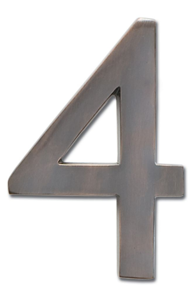 """Solid Cast Brass 5 inch Floating House Number Dark Aged Copper """"4"""""""