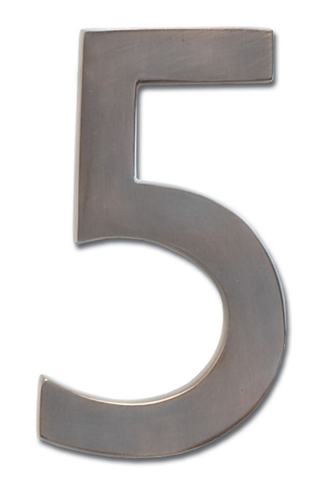 "Solid Cast Brass 5 inch Floating House Number Dark Aged Copper ""5"""