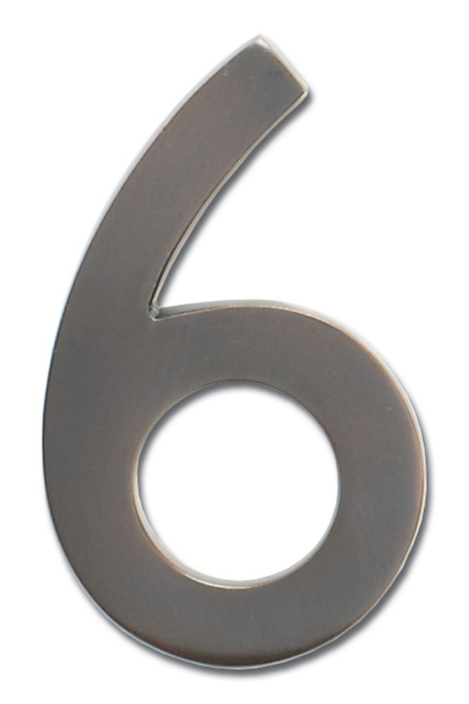"Solid Cast Brass 5 inch Floating House Number Dark Aged Copper ""6"""