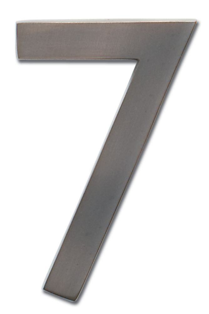 """Solid Cast Brass 5 inch Floating House Number Dark Aged Copper """"7"""""""