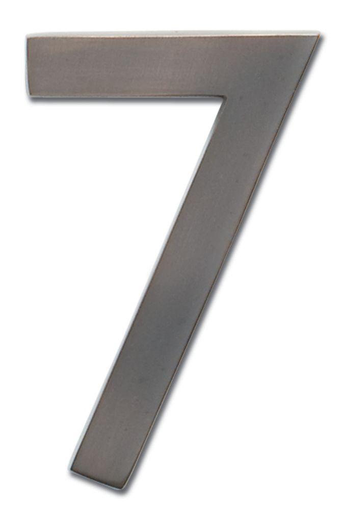Chiffre flottant de numéro de maison, 5 pouces, en laiton fondu massif à fini en cuivre vieilli f...