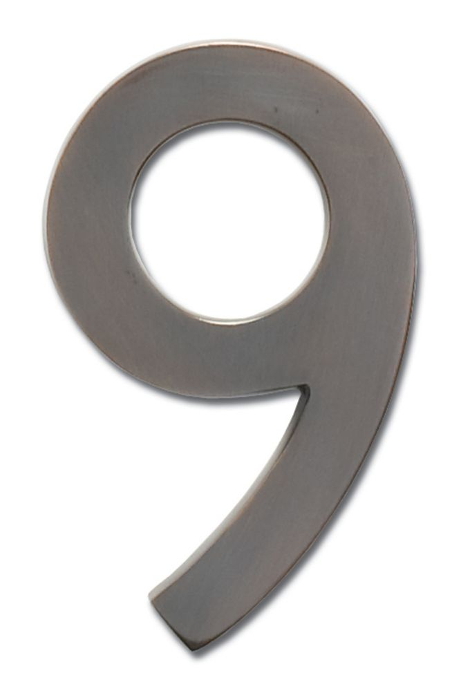 """Solid Cast Brass 5 inch Floating House Number Dark Aged Copper """"9"""""""