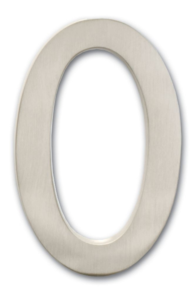 "Solid Cast Brass 5 inch Floating House Number Satin Nickel ""0"""