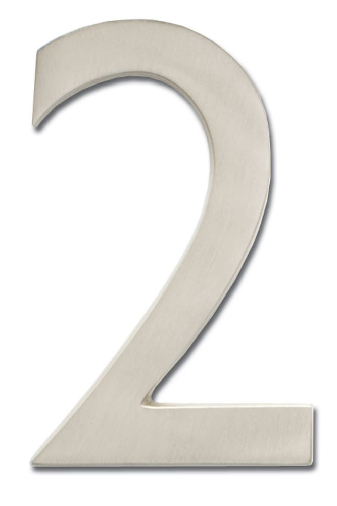 "Solid Cast Brass 5 inch Floating House Number Satin Nickel ""2"""