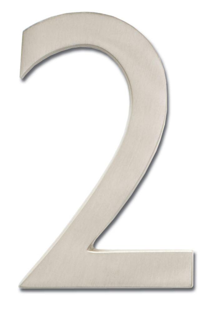 Chiffre de numéro de maison flottant, 5 pouces, en laiton fondu massif à fini nickel satin, «2»