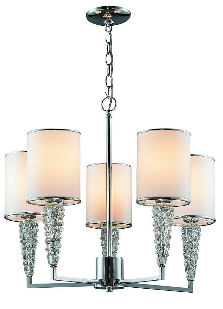 Celsius Chrome Pendant With White Shade and Crystals - 5 Lights