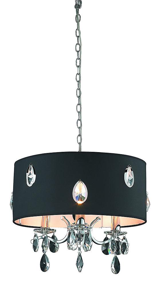 Allure, Petite Lampe Suspendue,  Au Fini Chrome Avec Ornement De Cristal En Forme De Goutte D'Eau