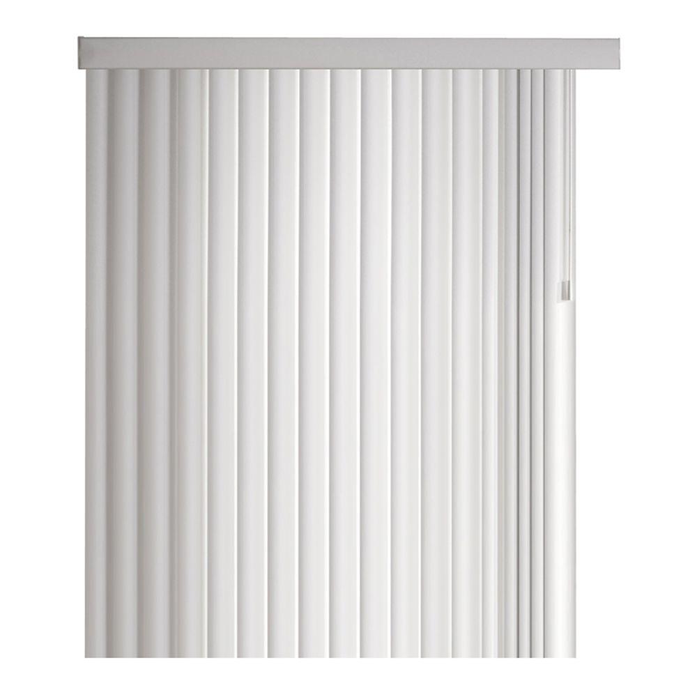 Ensemble de store vertical couronné de 11,4cm (4 ½ po), Blanc, 264cmx213cm (Largeur réelle 264cm...