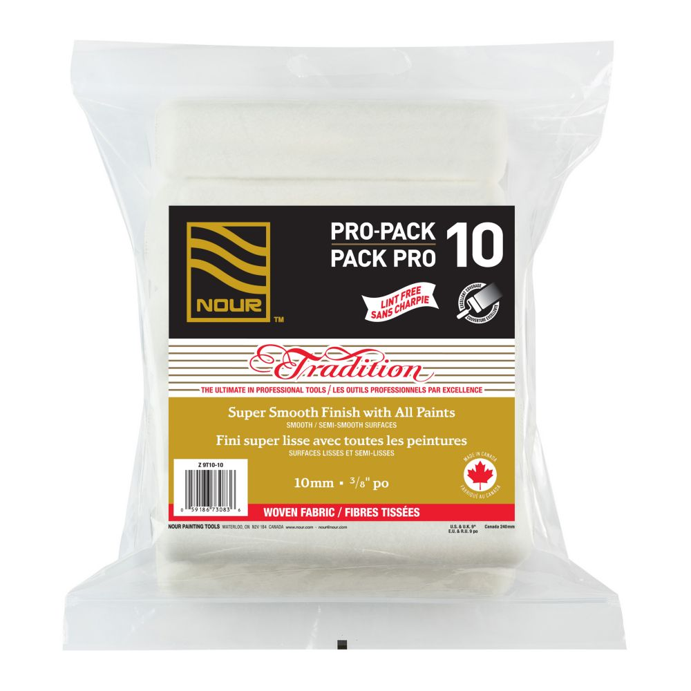 Nour Tradition 10mm 10-Pack Woven Lint Free Roller Refills