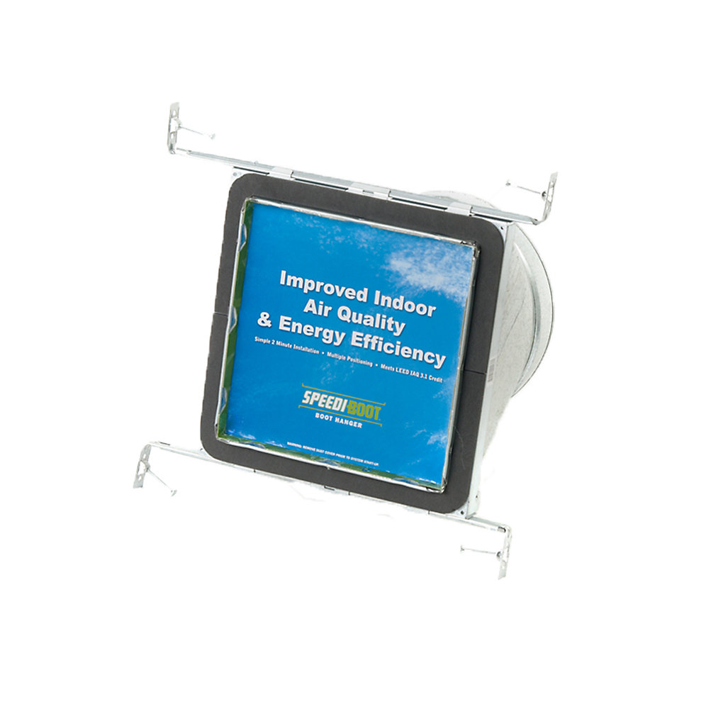 8 in. x 8 in. x 6 in. Square to Round Adaptor Register Vent Boot with Adj. Hangers for HVAC Duct Work
