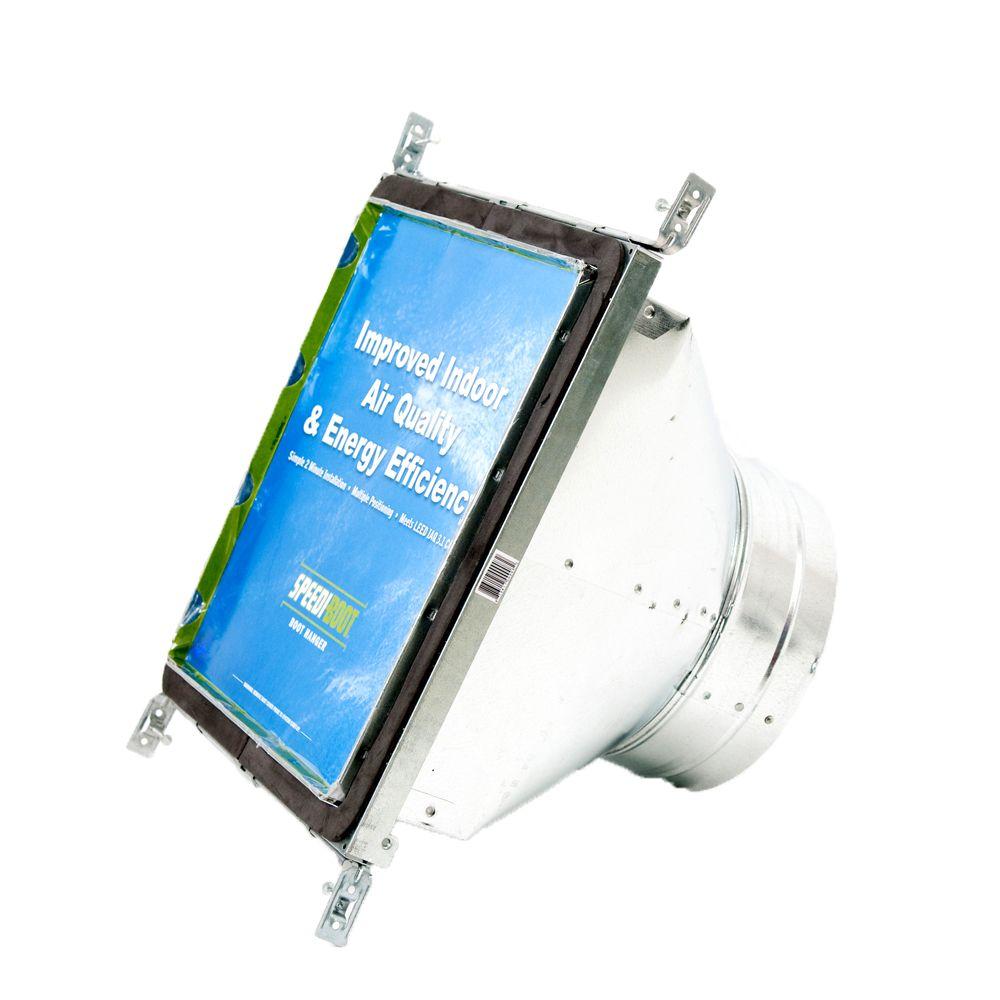 Bouche d'aération carrée à ronde à registre avec fixations réglables pour conduit de CVCA 10 po x...