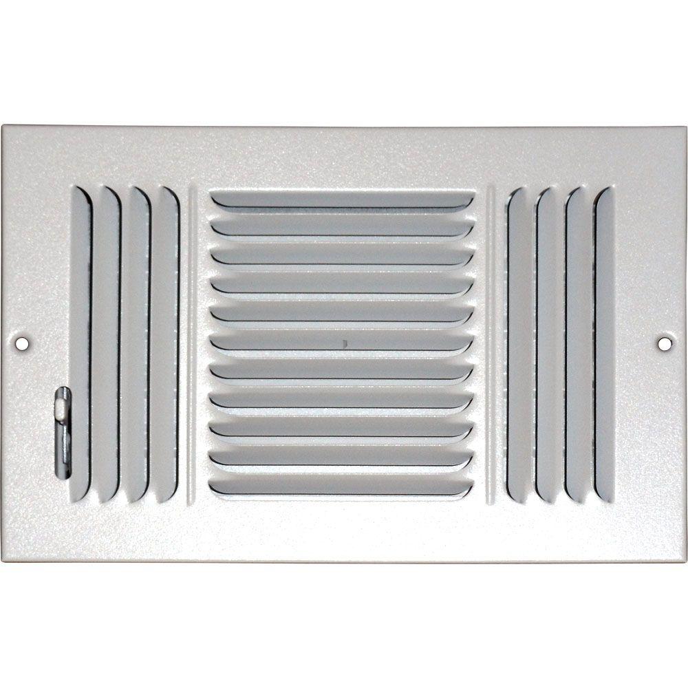Grille daération à triple déflection pour plafond ou mur 6 po x 10 po