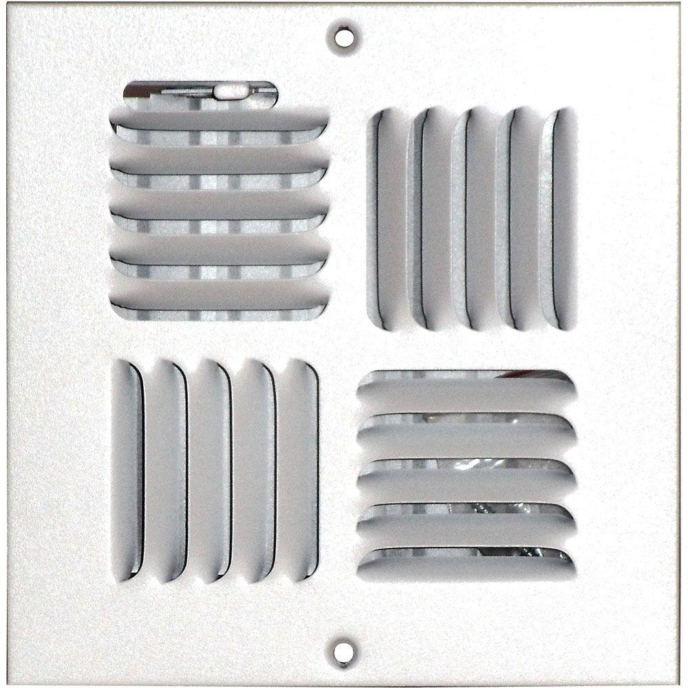 Grille daération à quadruple déflexion pour plafond ou mur 6 po x 6 po