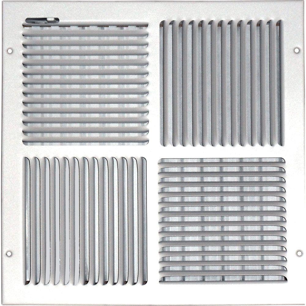 Grille daération à quadruple déflexion pour plafond ou mur 12 po x 12 po